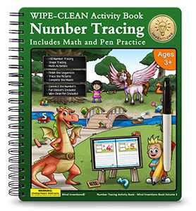 WIPE-CLEAN Number Tracing Workbook for Preschoolers and Kids Ages 3-5. Math Gifted and Talented for Pre K, Kindergarten and Kids Ages 3+