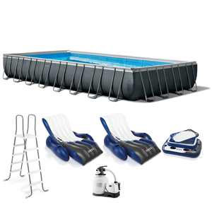 "Intex 32' x 16' x 52"" Ultra XTR Rectangular Pool w/ 2 Floating Chairs & Cooler"