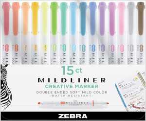Zebra Pen Mildliner, double-ended highlighter set, 15-pack