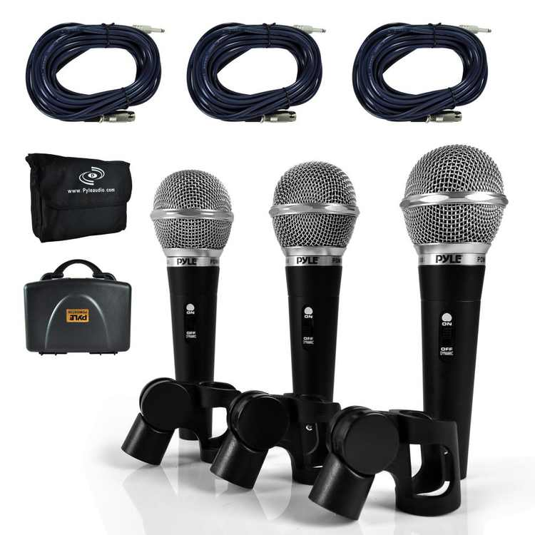 PYLE PDMICKT34 - Dynamic Microphone Kit, (3) Professional Handheld Mics (Includes XLR Audio Cables)