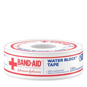 Band-Aid Brand First Aid Water Block Waterproof Adhesive Tape Roll, 1/2 In x 10 yd