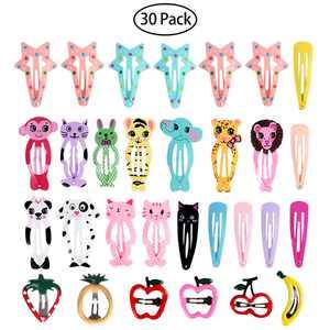 30Pcs Animal Snap Hair Clips Cute Cartoon Barrettes Hairpin for Baby Kids Children Girls