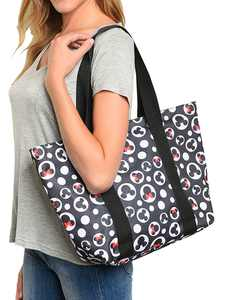 Disney Mickey Mouse Tote Bag Minnie Icon Zippered Black Travel Handbag