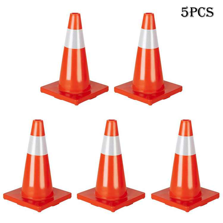 Zimtown 5PCS Traffic Cones 18 Inch Height Orange Fluorescent Reflective Road PVC Safety Cones