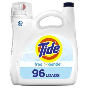 Tide Free & Gentle HE, 96 Loads Liquid Laundry Detergent, 150 Fl Oz