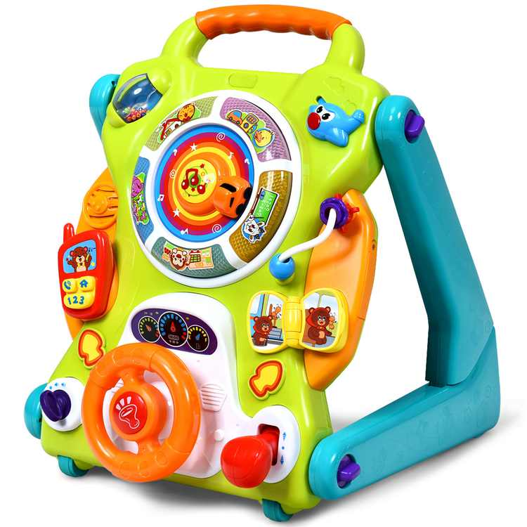 Topbuy 3 in1 Sit to Stand Learning Walker Toddlers Musical Fun Toy Kids Activity Center