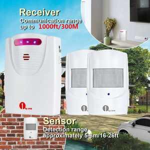 1byone 1000ft Long Range Wireless Home Security Driveway Alarm Alert System PIR Motion Sensor Detector Infrared Patrol Weatherproof, 1 Receiver & 2 Motion Sensors