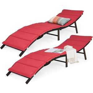Costway 2PCS Patio Rattan Folding Lounge Chair Stackable Double Sided Cushion