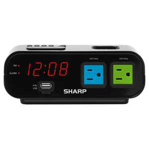 Sharp Digital Alarm Clock in Black with Red LED Display and 2X Power Outlets in Green and Blue, Surge Protect, USB Charge, SPC137