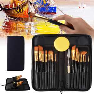 Artist Paint Brush Set 15pcs Includes Carrying Case with Free Palette Knife and Sponges for Acrylic, Oil, Watercolor, Art, Scale Model, Face, Paint by Numbers for Adults