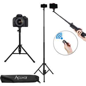 """Acuvar 54"""" Inch Aluminum Extendable Monopod Tripod/Selfie Stick with Universal Smartphone Mount + Wireless Remote Control Camera Shutter for All Smartphones iPhones Android Samsung"""
