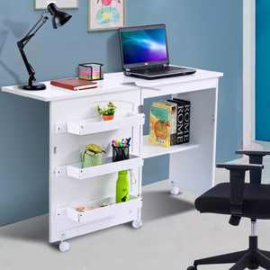 Costway White Folding Swing Craft Table Shelves Storage Cabinet Home Furniture W/Wheels