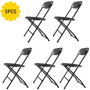Jaxpety 5 Pack Commercial Plastic Folding Chairs Stackable Wedding Party Event Chair, Black