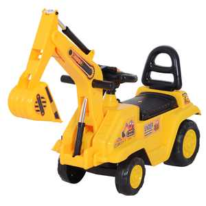 HOMCOM 3 in 1 Ride On Toy Excavator Digger Scooter Pulling Cart Pretend Play Construction Truck