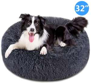 Meidong Dog Bed Cat Bed Donut,Pet Bed Faux Fur Cuddler Round Comfortable for Small Medium Large Dogs Ultra Soft Calming Bed,Self Warming Indoor Sleeping Bed Multiple Sizes 32''