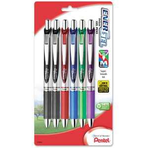 Pentel EnerGel RTX Retractable Liquid Gel Pen, (0.7mm) Metal Tip, Medium Line, Assorted Ink (2A/B/C/D/V) 6-Pk