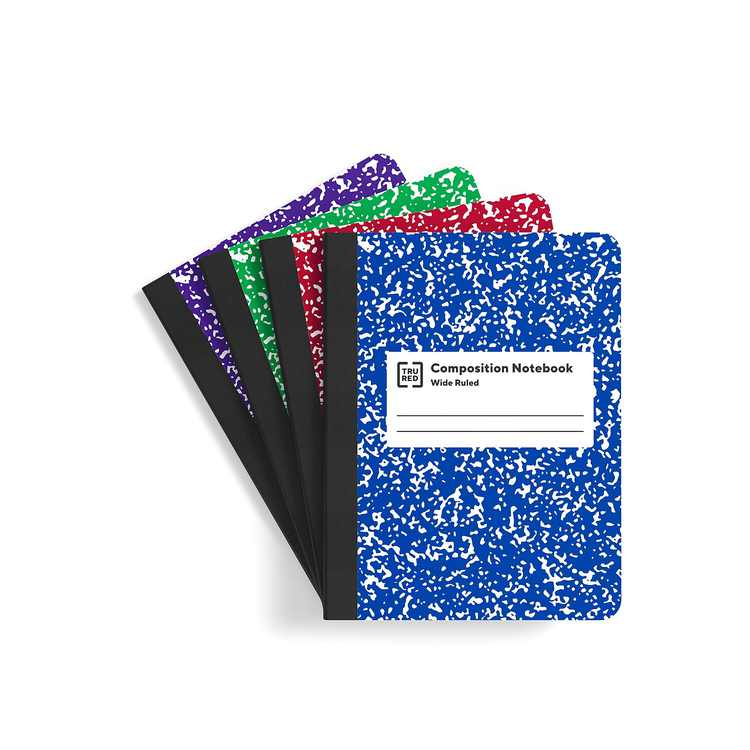 "Staples Composition Notebook 9.75"" x 7.5"" Wide Ruled 100 Sh. Assorted 912462"