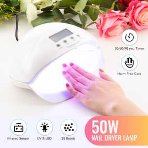 Preenex 50W Professional Nail Lamp Salon Dryer Nail Art Tool with Timer UV LED, White