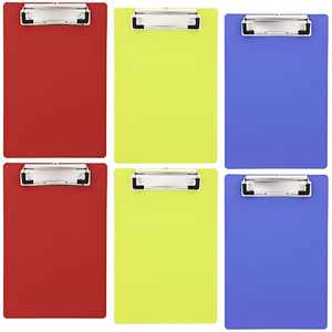 """6 Pack Heavy Duty Plastic Clipboards Memo Holder with Low Profile Clip and Hook, Small Hardboard in 6""""x9"""", Mimi Colorful Clipboard Sturdy Durable"""