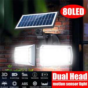 100W 80LED COB Double Head Solar Motion Sensor Light Outdoor,Waterproof Solar Powered Wall Lights with Dual Head Lights Security Night Lights for Outdoor Pation Yard Garden