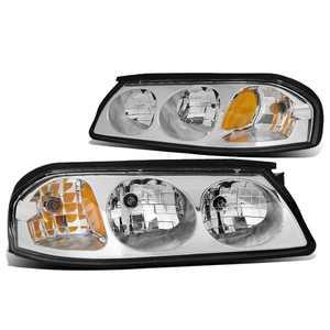 For 2000 to 2005 Chevy Impala 8th Gen Pair Headlight Chrome Housing Amber Corner Headlamp 01 02 03 04 Left + Right