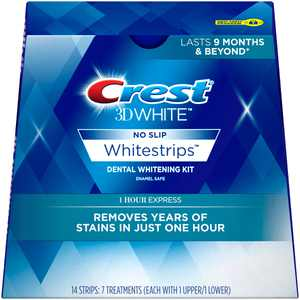 Crest 3D White Whitestrips 1 Hour Express Teeth Whitening Kit, 7 Treatments