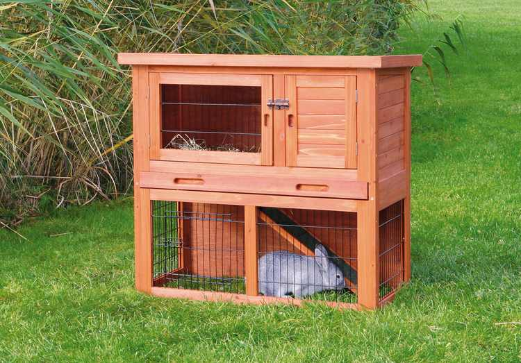 TRIXIE Pet Products natura Rabbit Retreat Hutch with Run Brown S
