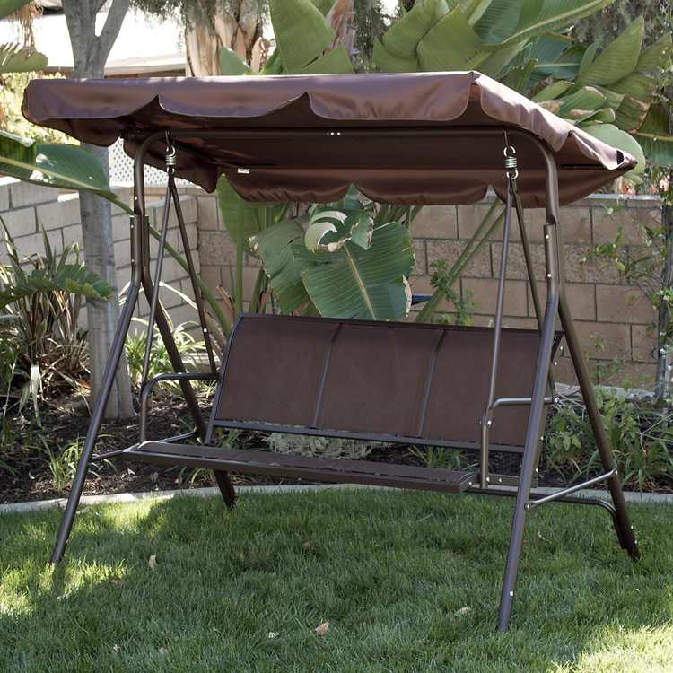 BELLEZE Porch Swing Glider Outdoor Chair Top Tilt UV Resistant Shade 3 Seater Adjustable Sunshade Dark Brown