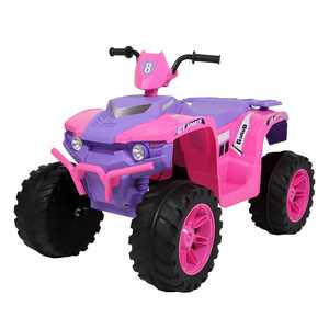 Ktaxon Kids ATV Ride On Car Vehicle Toy with 12V Battery Powered Electric Rugged 4-Wheeler w/ 5 KM/H Max, LED Headlights, AUX Jack