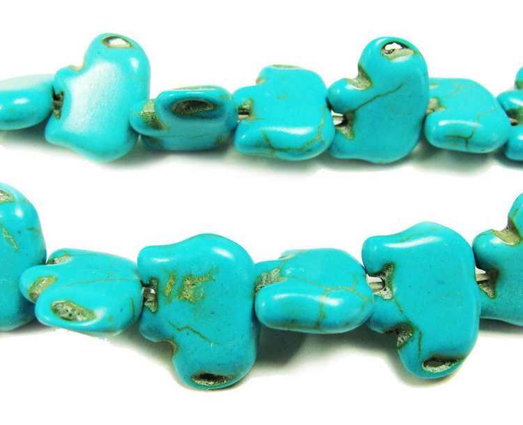"14x18mm 15.5"" Turquoise Howlite Elephant Beads Genuine Natural Gemstone Jewelry Making"