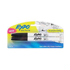 EXPO Low-Odor Dry Erase Markers Ultra Fine Tip Black 2-Count