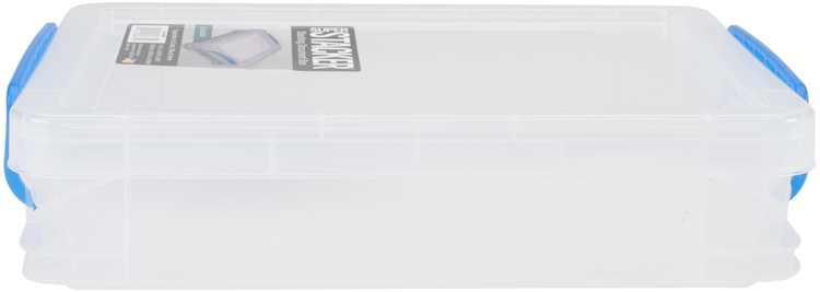 "Storage Studios Super Stacker Doc Box-14.5""X10.5""X3.38"" Clear/Blue Handles"