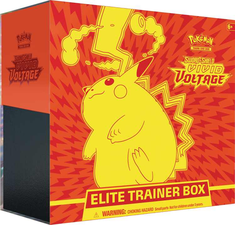 Pokemon Sword and Shield 4 Vivid Voltage Elite Trainer Box-featuring Gigantamax Pikachu!- 8 Vivid Voltage Packs | 65 Card Sleeves| 6 Counter Dice