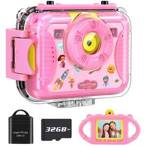 VanTop Junior K8 Kids Camera with 32GB Memory Card, Selfie 1080P Supported Waterproof Video Camera / 8MP 2.4 inch Large Screen, Face Recognition, 4 Games, Extra Kid-Proof Silicon Case Pink