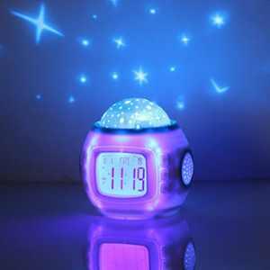 Children Room Sky Star Night Light Projector Lamp Alarm Clock sleeping music
