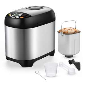 Automatic 19-in-1 Bread Maker Machine,3 Loaf Sizes&3 Crust Colors,2LB Stainless Steel Toaster Pizza Dough Maker,15H timer&1 Hour Keep Warm,Knead Dough and Gluten Free Settings