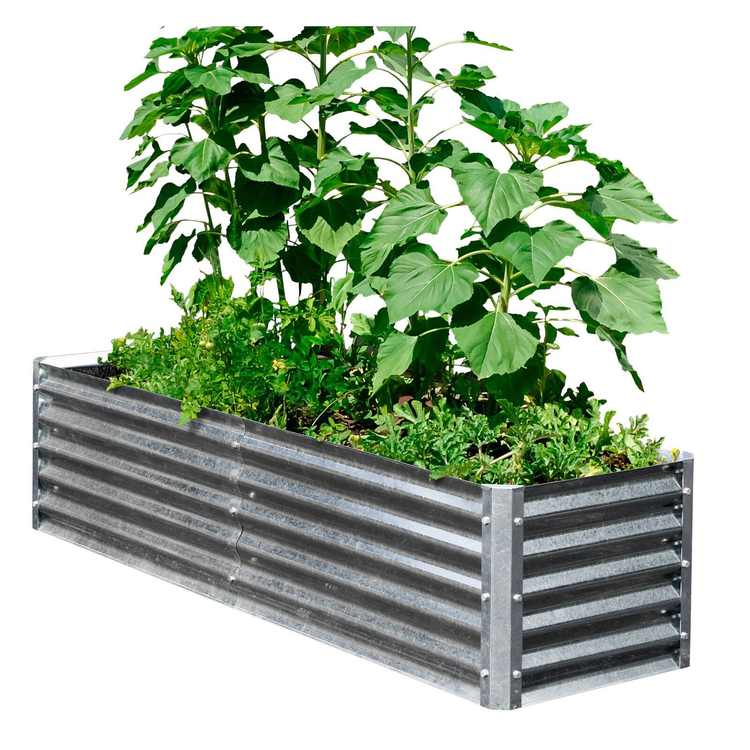 EarthMark Galvanized Metal High Planter Raised Garden Bed Bundle