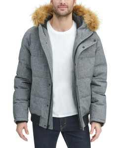 Men's Big & Tall Short Parka Jacket with Faux Fur Hood