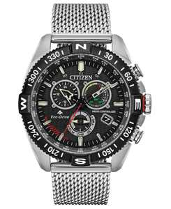 Eco-Drive Men's Chronograph Promaster Navihawk Stainless Steel Mesh Bracelet Watch 44mm