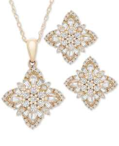 """2-Pc. Set Diamond Flower Cluster 20"""" Pendant Necklace and Matching Stud Earrings (1 ct. t.w.) in 14k Gold or 14k White Gold, Created for Macy's"""