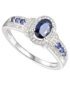 Sapphire (3/4 ct. t.w.) & Diamond (1/10 ct. t.w.) Ring in Sterling Silver