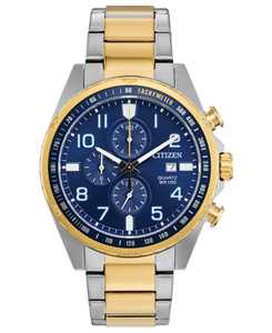 Men's Chronograph Quartz Two-Tone Stainless Steel Bracelet Watch 44mm