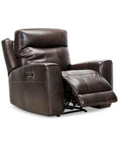 """CLOSEOUT! Bitola 40"""" Leather Dual Power Recliner, Created for Macy's"""