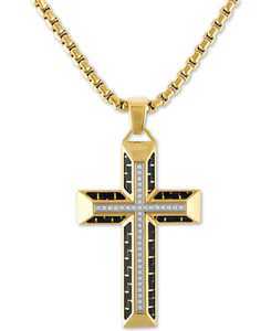 "Diamond Cross 22"" Pendant Necklace in Gold Tone Ion-Plated Stainless Steel & Black Carbon Fiber, Created for Macy's"
