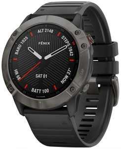 Unisex Fenix 6X Sapphire Black Silicone Strap Smart Watch 35.56mm