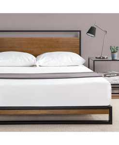 Suzanne Metal and Wood Platform Bed with Headboard, Queen