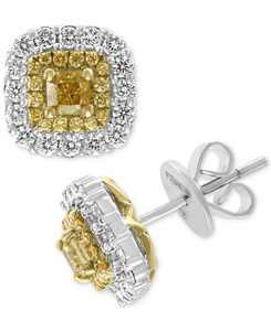 EFFY HEMATIAN Diamond Halo Stud Earrings (1-1/5 ct. t.w.) in 18k Gold & White Gold