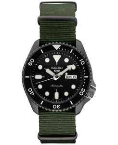 Men's Automatic 5 Sports Green Nylon Strap Watch 42.5mm