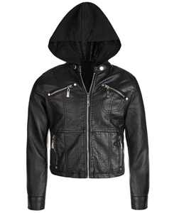 Big Girls Removable-Hood Moto Jacket