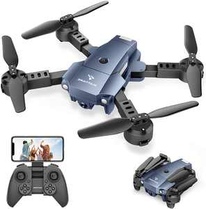 SNAPTAIN A10 Mini Foldable Drone with 720P HD Camera FPV WiFi RC Quadcopter with Voice/Gesture Control, Trajectory Flight, Circle Fly, High-Speed Rotation, 3D Flips, G-Sensor, Headless Mode Blue